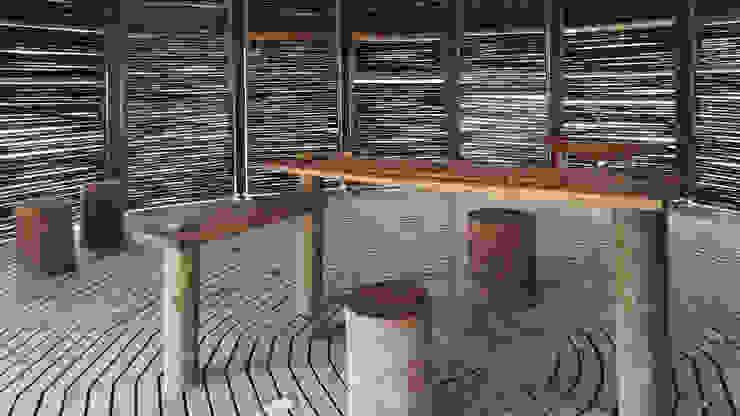 Kipará Té Etnoaldea Turística Embera / Juan Pablo Dorado + Oficina Suramericana de Arquitectura Cocinas de estilo tropical de Oficina Suramericana De Arquitectura Tropical Madera maciza Multicolor