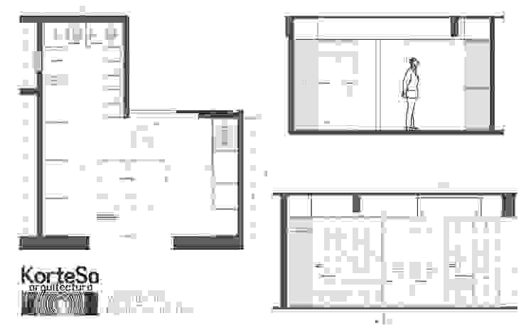 Planos Vestidor Vestidores y placares de estilo ecléctico de KorteSa arquitectura Ecléctico