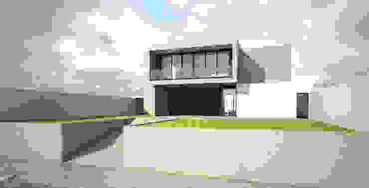 3D do Projeto Arquitetônico (fachada frontal) Casas minimalistas por Gloria Cabo Arquitetura Minimalista