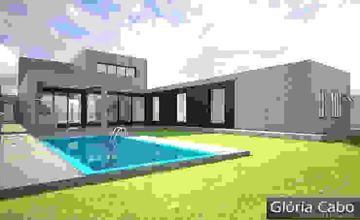 3D do Projeto Arquitetônico (fachada posterior) Casas minimalistas por Gloria Cabo Arquitetura Minimalista