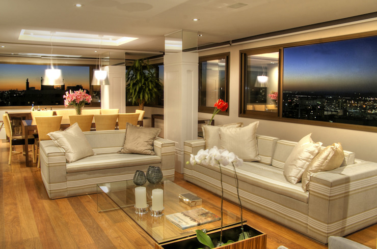 PROJ. ARQ. KARIN MORAES Salas de estar modernas por BRAESCHER FOTOGRAFIA Moderno