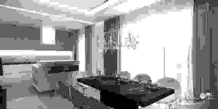 Projekt wnętrza nowoczesnego apartamentu w Warszawie - salon z jadalnią Nowoczesna jadalnia od ArtCore Design Nowoczesny