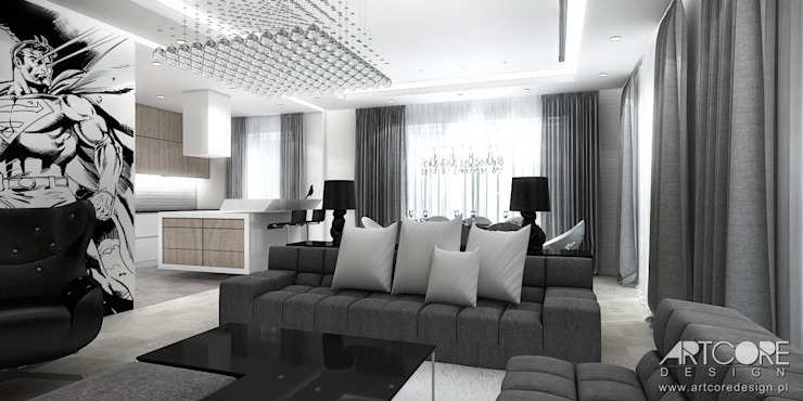 Projekt wnętrza nowoczesnego apartamentu w Warszawie - salon z jadalnią Nowoczesny salon od ArtCore Design Nowoczesny