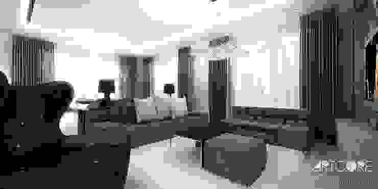 Projekt wnętrza nowoczesnego apartamentu w Warszawie - salon Nowoczesny salon od ArtCore Design Nowoczesny