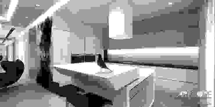 Projekt wnętrza nowoczesnego apartamentu w Warszawie - kuchnia Nowoczesna kuchnia od ArtCore Design Nowoczesny