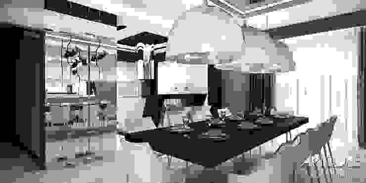 White Rabbit – Projekt wnętrza nowoczesnego domu Nowoczesna jadalnia od ArtCore Design Nowoczesny