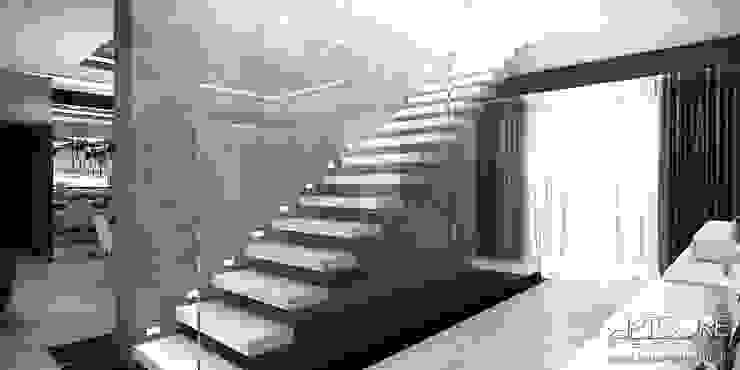 White Rabbit – Projekt wnętrza nowoczesnego domu Nowoczesny korytarz, przedpokój i schody od ArtCore Design Nowoczesny