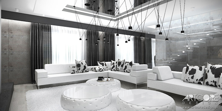 White Rabbit – Projekt wnętrza nowoczesnego domu Nowoczesny salon od ArtCore Design Nowoczesny