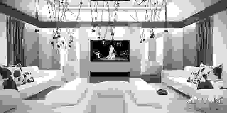 White Rabbit - Projekt wnętrza nowoczesnego domu Nowoczesny salon od ArtCore Design Nowoczesny
