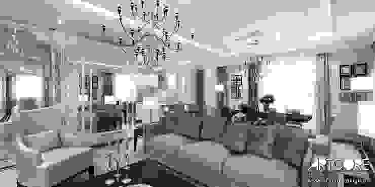 Five o'clock - projekt wnętrza apartamentu w Warszawie Klasyczny salon od ArtCore Design Klasyczny