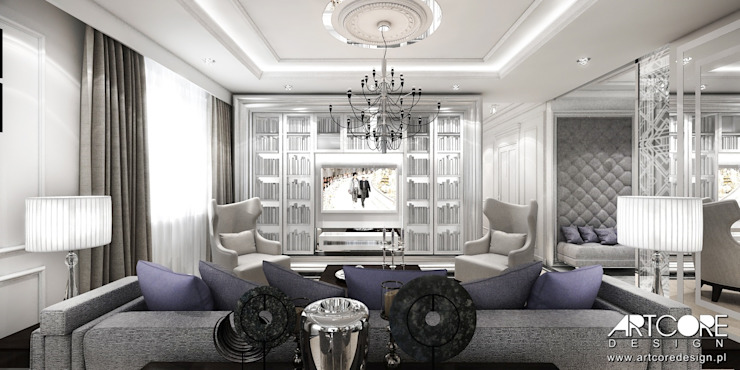 Five o'clock – projekt wnętrza apartamentu w Warszawie Klasyczny salon od ArtCore Design Klasyczny