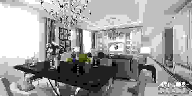Five o'clock – projekt wnętrza apartamentu w Warszawie Klasyczna jadalnia od ArtCore Design Klasyczny