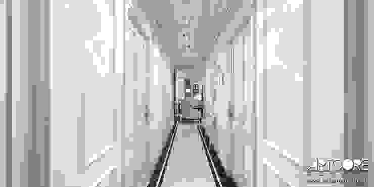 Five o'clock – projekt wnętrza apartamentu w Warszawie Klasyczny korytarz, przedpokój i schody od ArtCore Design Klasyczny