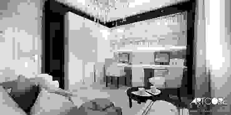 Five o'clock – projekt wnętrza apartamentu w Warszawie Klasyczne domowe biuro i gabinet od ArtCore Design Klasyczny