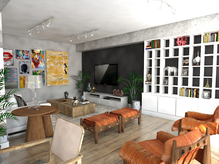 Apartamento Salas de estar modernas por Studio M Arquitetura Moderno