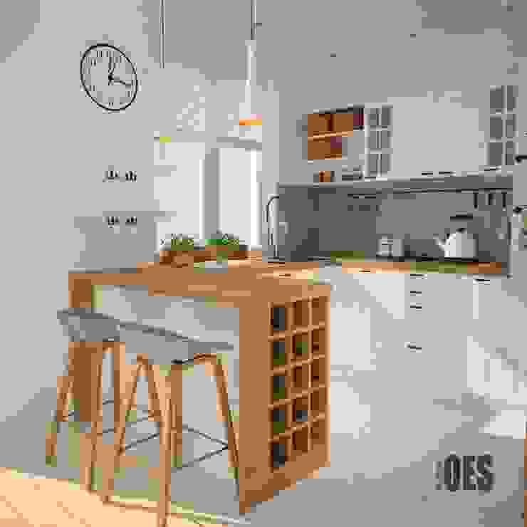 Projekt kuchni i salonu Skandynawska kuchnia od OES architekci Skandynawski Drewno O efekcie drewna