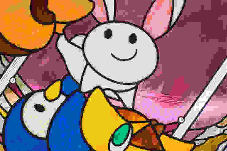ウサギさんアップ オリジナルな学校 の マルグラスデザインスタジオ オリジナル ガラス