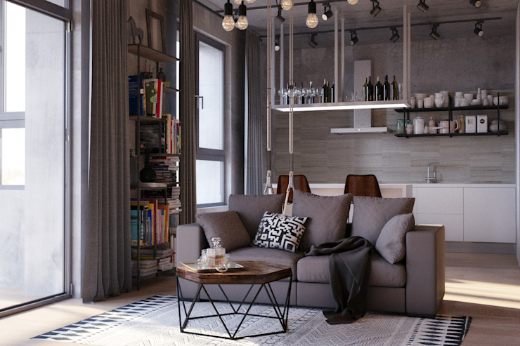 homify Living room Concrete Grey