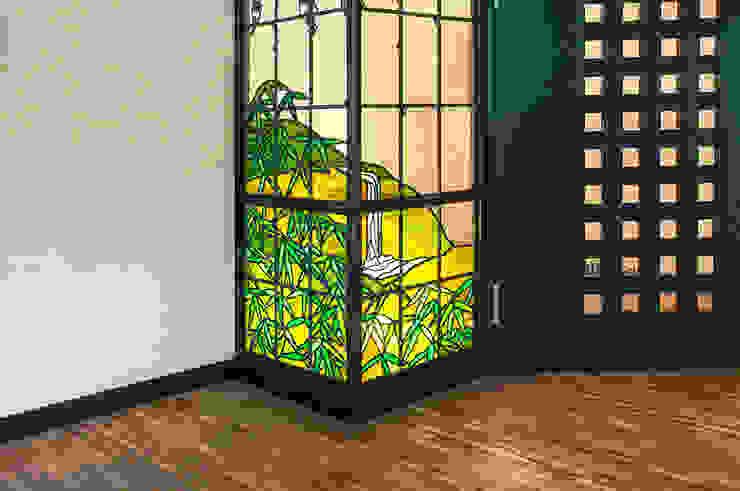 笹と山と滝 和風デザインの リビング の マルグラスデザインスタジオ 和風 ガラス