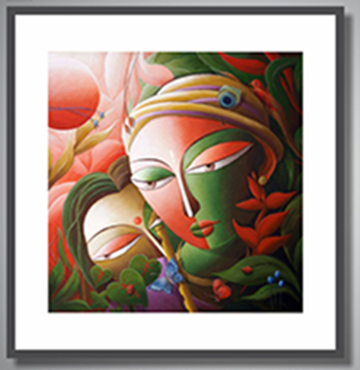 Lord Krishna Painting by Dhananjay Mukhrjee: asian  by Indian Art Ideas,Asian Flax/Linen Pink