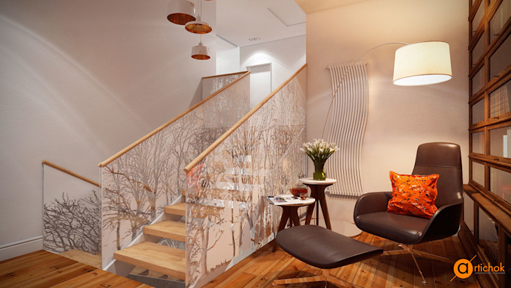 WHITE TREE library Коридор, прихожая и лестница в скандинавском стиле от Artichok Design Скандинавский