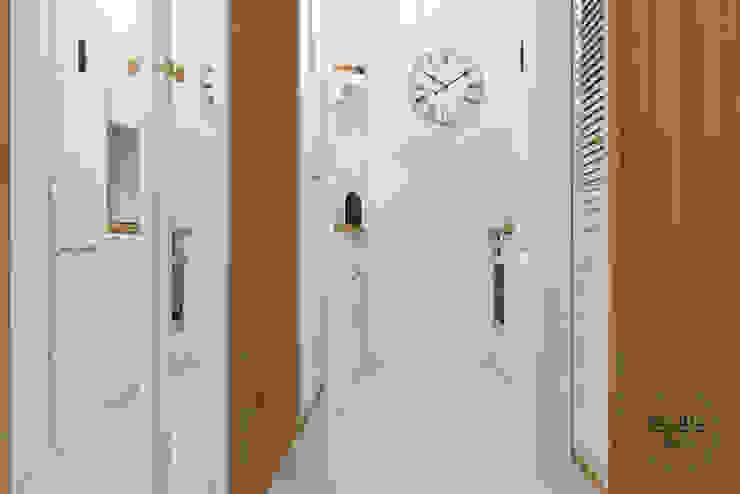 Bielany Skandynawski korytarz, przedpokój i schody od Studio R35 Skandynawski