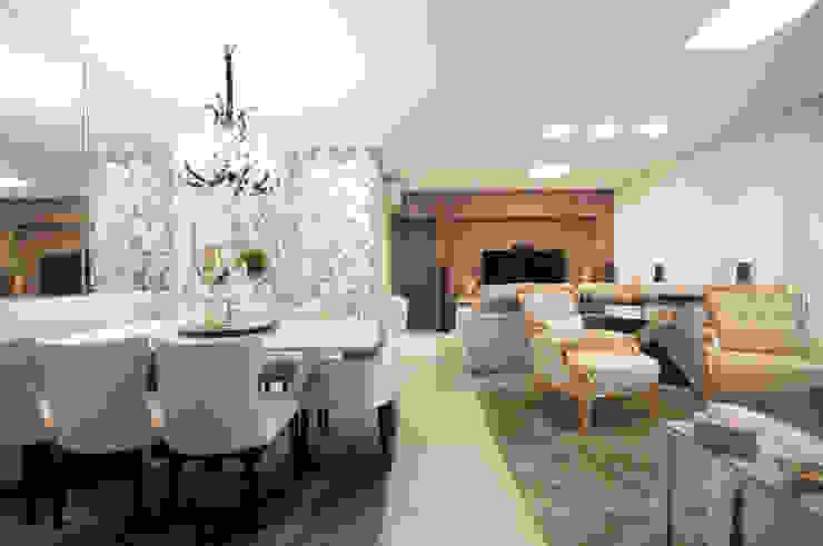 Jantar , estar e home Salas de estar ecléticas por Haus Brasil Arquitetura e Interiores Eclético