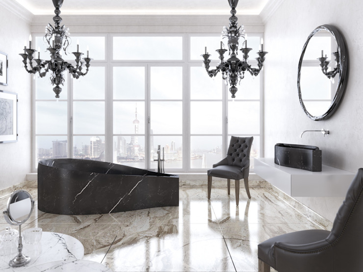 Lake bathtub and sink PURAPIETRA Bagno moderno Marmo Nero