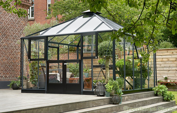 Juliana Anthracite Grey Oasis 12x12 Greenhouse Modern garden by homify Modern Aluminium/Zinc