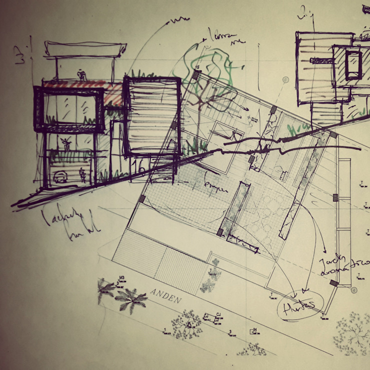 Boceto inicial Casas modernas de Le.tengo Arquitectos Moderno