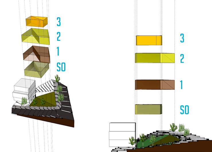 Estrategia de emplazamiento Casas modernas de Le.tengo Arquitectos Moderno