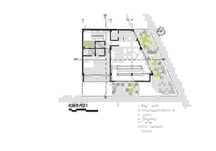 Planta piso 1 Comedores de estilo moderno de Le.tengo Arquitectos Moderno