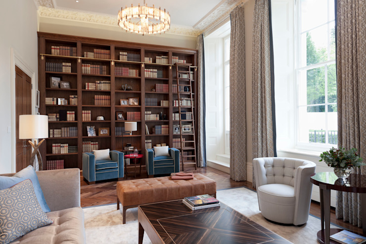 Lancasters Show Apartments - Living Room and Study LINLEY London 现代客厅設計點子、靈感 & 圖片