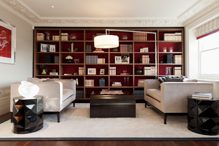 Lancasters Show Apartments - Living Room and Study モダンデザインの リビング の LINLEY London モダン
