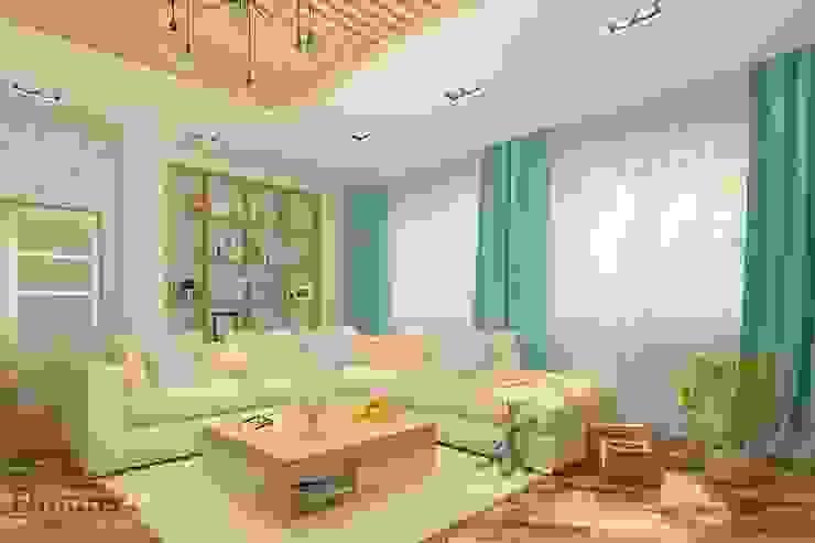 Экологичность в гостиной Гостиная в скандинавском стиле от Белый Эскиз Скандинавский Дерево Эффект древесины