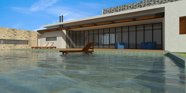 Piscina - Casa - Park Way - Brasília/DF Piscinas modernas por Arquitetura do Brasil Moderno