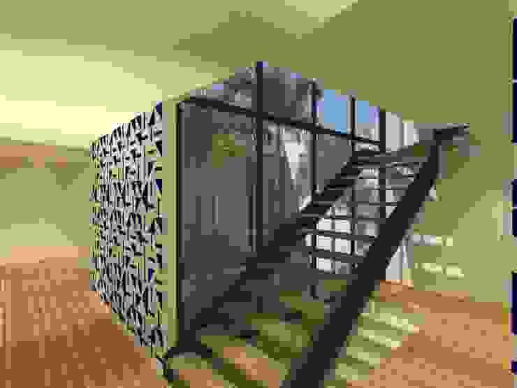 Escada - Casa - Park Way - Brasília/DF Corredores, halls e escadas modernos por Arquitetura do Brasil Moderno