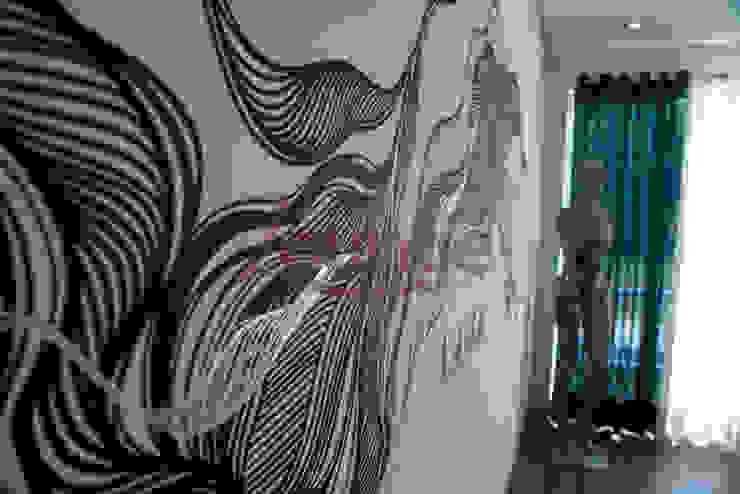 Pintura artística em parede - suíte do casal Quartos modernos por Arquitetura Ecológica Moderno