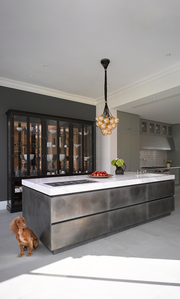 Patinated Silver Metallic Finish Roundhouse KitchenCabinets & shelves Metallic/Silver