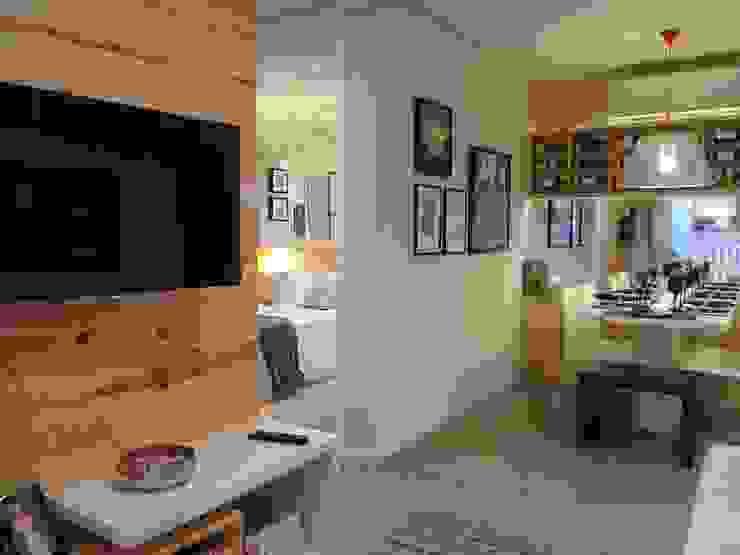 Decorado 49m² Salas de estar ecléticas por Fabiana Rosello Arquitetura e Interiores Eclético
