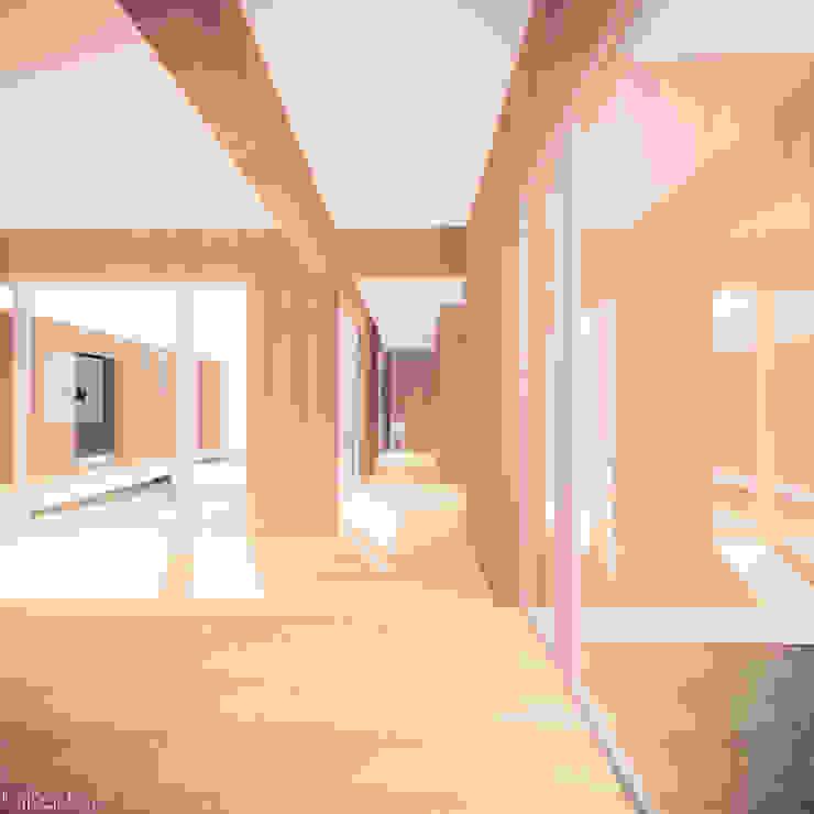Casa em Lavre Corredores, halls e escadas modernos por Tapada arquitectos Moderno Madeira maciça Multicolor