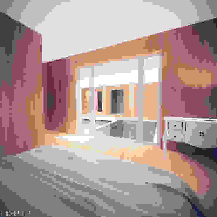 Casa em Lavre Quartos modernos por Tapada arquitectos Moderno Madeira maciça Multicolor