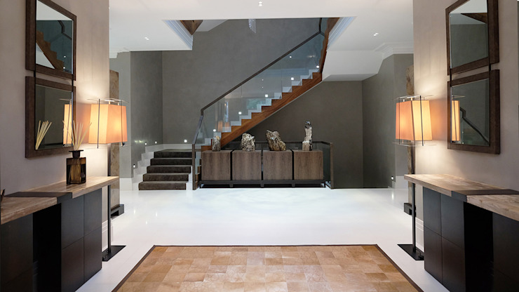 Private Villa, Surrey Keir Townsend Ltd. Modern Corridor, Hallway and Staircase