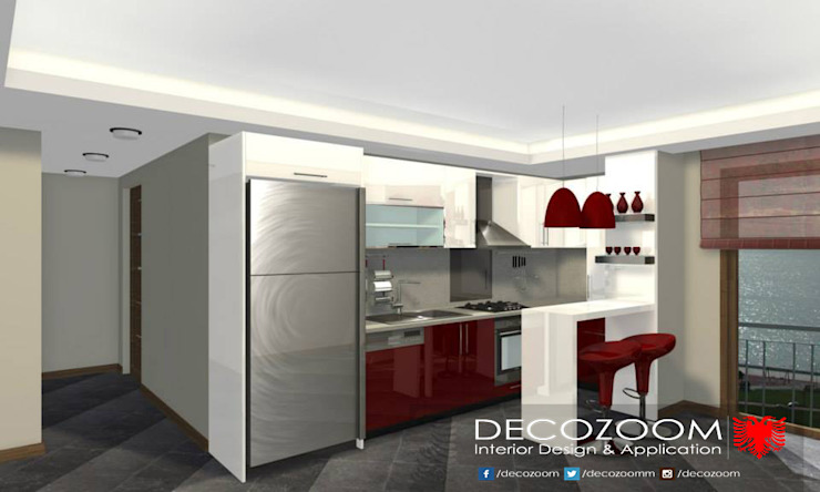 DECOZOOM INTERIOR DESIGN KitchenCabinets & shelves Wood Red