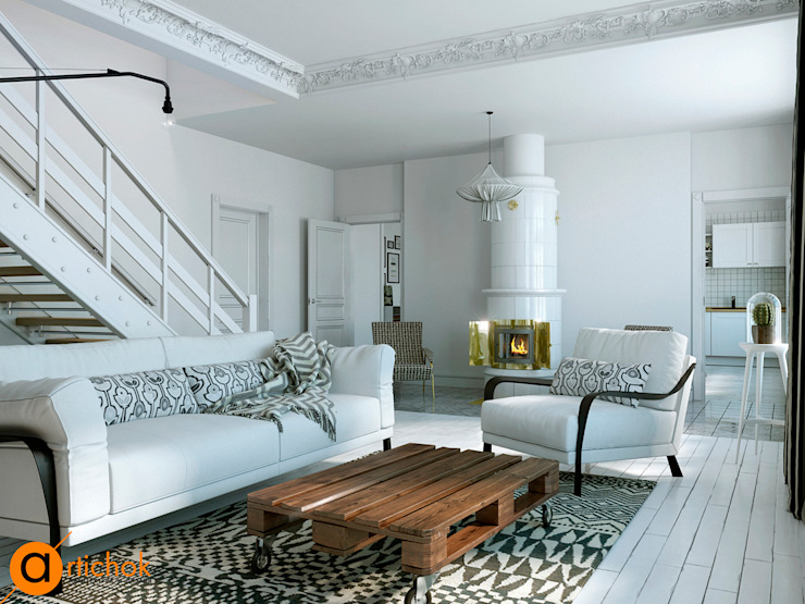 Скандинавское кружево Гостиная в скандинавском стиле от Artichok Design Скандинавский