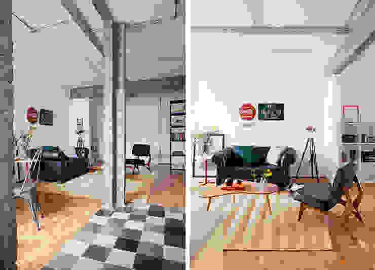 Sala Salas de estar industriais por INÁ Arquitetura Industrial