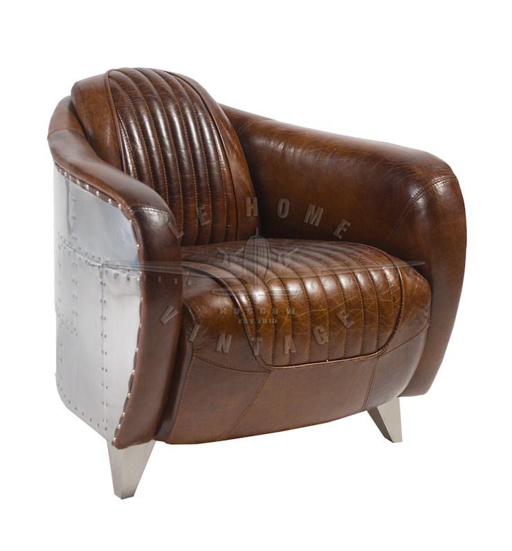 Кресло Spitfire A065 от LeHome Interiors Лофт Кожа Серый