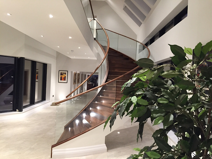 Luxury Staircase Modern Corridor, Hallway and Staircase by Haldane UK Modern