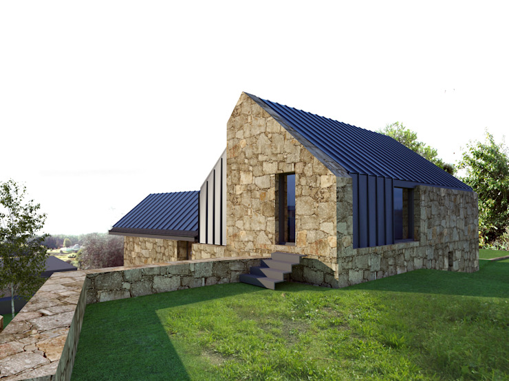 Houses by Davide Domingues Arquitecto, Rustic Granite