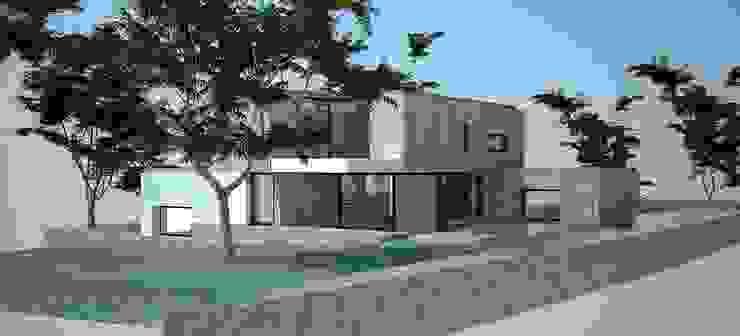 Perspectiva - alçado posterior e alçado lateral esquerdo por Davide Domingues Arquitecto